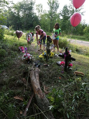 A memorial at the spot of the accident honors the lives of two girls killed in a single-vehicle crash Friday along Highway 52 northeast of Wausau. The girls will be remembered in candlelight vigil on The 400 Block in downtown Wausau at 8:30 p.m. Monday.