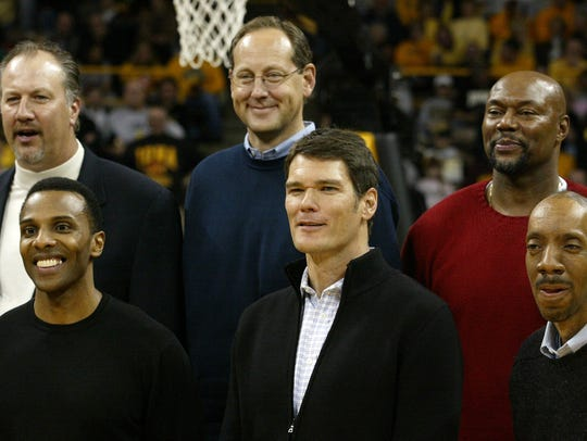 Members of Iowa's 1980 Final Four team were honored