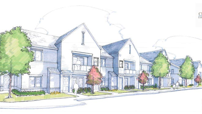 An early architectural rendering of the proposed Crossing at Lakeland Trail apartments in Hamburg Township.