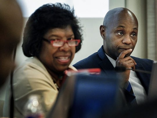 April 19, 2016 - Shelby County Schools Superintendent Dorsey Hopson (right) listens to board members, including Teresa Jones. (Mark Weber/The Commercial Appeal)