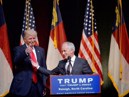Donald Trump stands next to Sen. Bob Corker (R-TN) during a campaign event at the Duke Energy Center for the Performing Arts on July 5, 2016 in Raleigh, North Carolina.