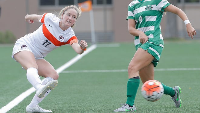 UTEP forward Angela Cutaia, left, leads the Miners in goals and assists, and will be key for the Miners on Friday against Louisiana Tech in a Conference USA soccer match.