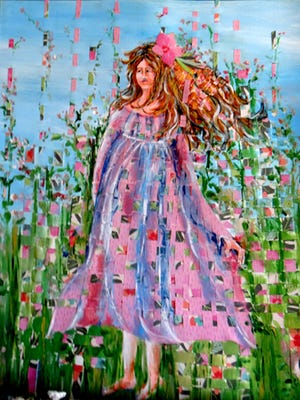 """Virginia Carroll, """"Strolling Through Wildflowers,"""" painting with cut pieces and collage elements."""