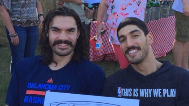 Steven Adams and Enes Kanter pose together for a photo that Kanter shared on social media.
