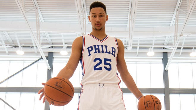 Sep 26, 2016; Philadelphia, PA, USA; Philadelphia 76ers forward Ben Simmons (25) dribbles the ball during media day at the Philadelphia 76ers Training Complex. Mandatory Credit: Bill Streicher-USA TODAY Sports