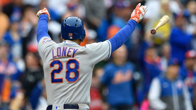 Oct 1, 2016; Philadelphia, PA, USA; New York Mets first baseman James Loney (28) celebrates after hitting a two-run home run during the sixth inning against the Philadelphia Phillies at Citizens Bank Park. Mandatory Credit: Derik Hamilton-USA TODAY Sport ORG XMIT: USATSI-263074 ORIG FILE ID:  20161001_ajw_hb3_150.jpg
