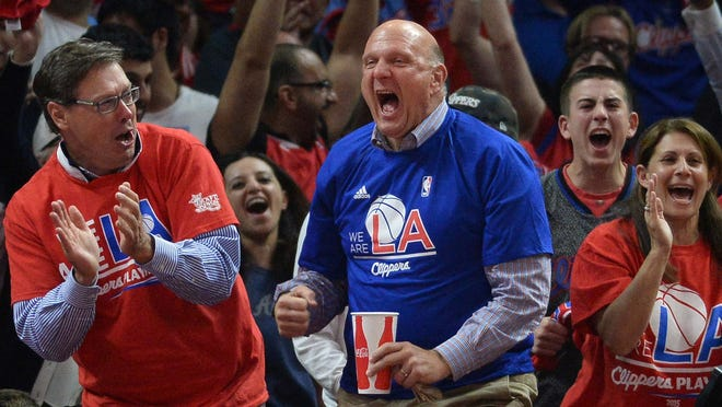 Los Angeles Clippers owner Steve Ballmer reacts in the fourth quarter against the San Antonio Spurs in game five of the first round of the NBA Playoffs at Staples Center. The Spurs defeated the Clippers 111-107 to take a 3-2 lead.