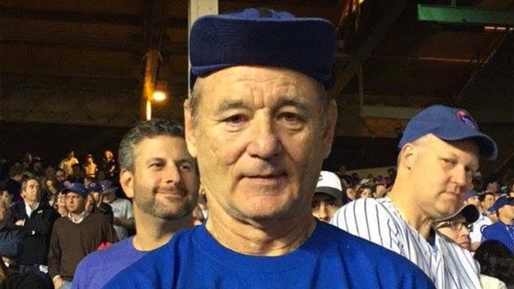 Bill Murray at Game 1 of the Cubs-Giants series on