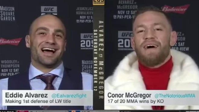 Conor McGregor and Eddie Alvarez trash talked each other on SportsCenter after their crazy press conference.