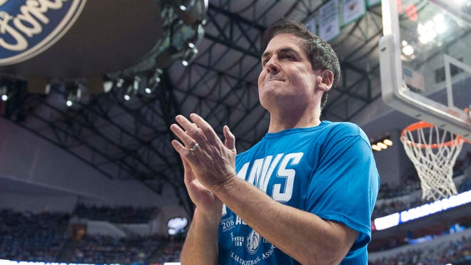 Oct 28, 2016; Dallas, TX, USA; Dallas Mavericks owner Mark Cuban walks on to the court before the game between the Dallas Mavericks and the Houston Rockets at the American Airlines Center. Mandatory Credit: Jerome Miron-USA TODAY Sports ORG XMIT: USATSI-323402 ORIG FILE ID:  20161028_lbm_an4_060.JPG