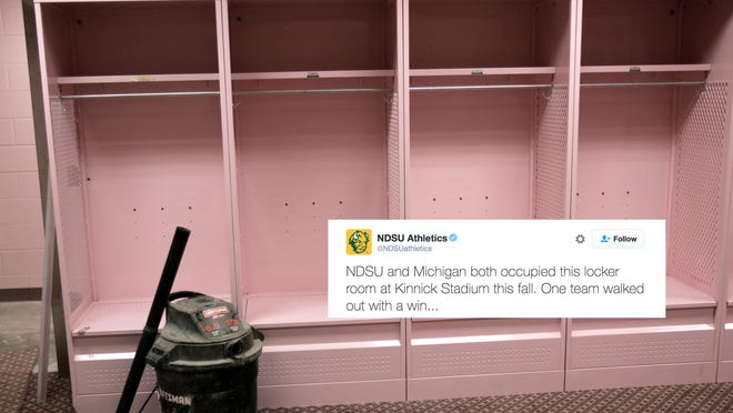 The newly renovated visiting team field level locker room in Kinnick Stadium at the University of Iowa in Iowa City, Iowa, is seen during a tour Saturday, Aug. 20, 2005. The visiting team locker room features pink carpeting, lockers, and bathroom facilities. (AP Photo/The Gazette, David Wallace) ORG XMIT: IACED252