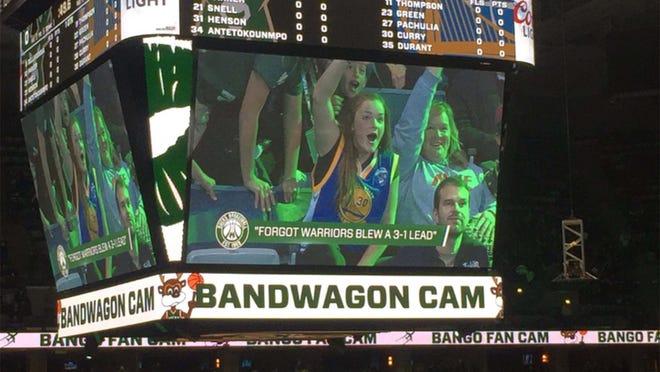 The Bandwagon Cam in Milwaukee at the Bucks-Warriors game.