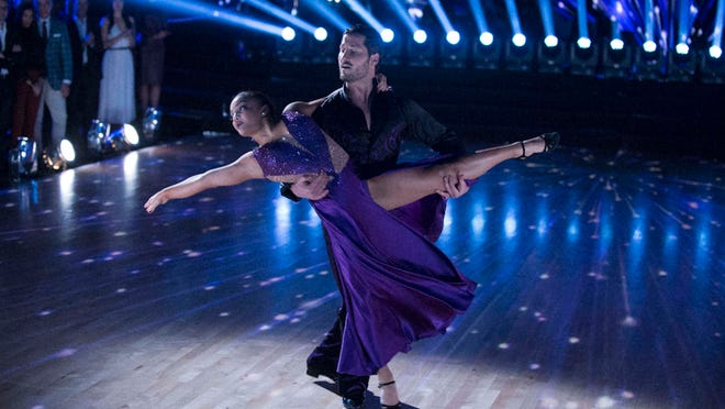 Laurie Hernandez and Val Chmerkovskiy perform a beautiful foxtrot during the semifinals.