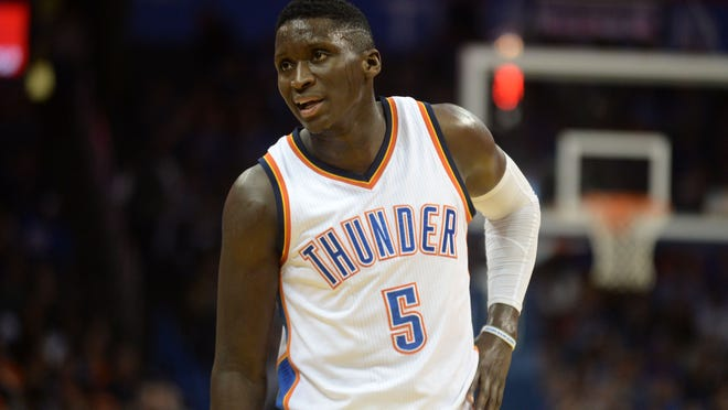 Oklahoma City Thunder guard Victor Oladipo (5) reacts to a call in action against the Detroit Pistons during the second quarter at Chesapeake Energy Arena.