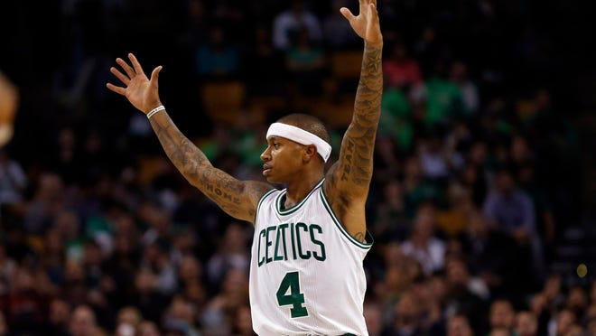 Boston Celtics point guard Isaiah Thomas (4) reacts during the third quarter against the Detroit Pistons at TD Garden.  The Detroit Pistons won 121-114.