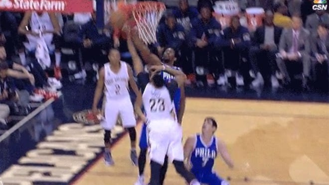 Joel Embiid blocked Anthony Davis in the first quarter.
