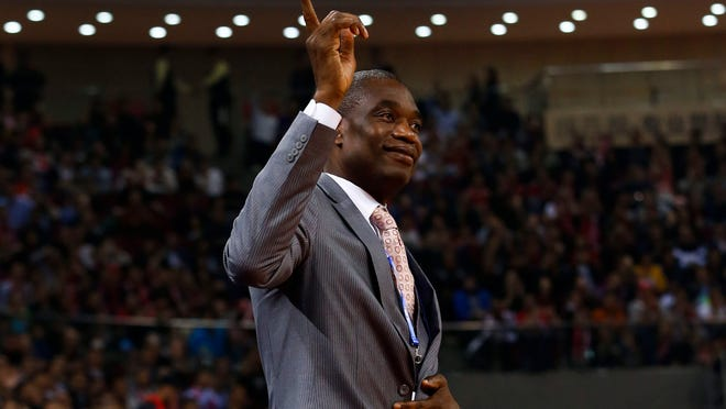 Former Houston Rockets player and NBA Hall of Fame inductee Dikembe Mutombo attends the NBA preseason game between the New Orleans Pelicans and the Houston Rockets at the LeSports Center in Beijing, China, 12 October 2016.