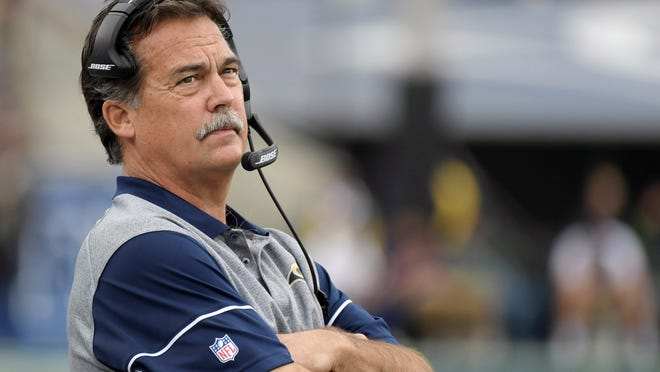Los Angeles Rams coach Jeff Fisher reacts during the game against the Atlanta Falcons at Los Angeles Memorial Coliseum.