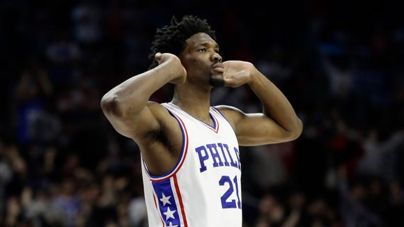 Philadelphia 76ers' Joel Embiid in action during an