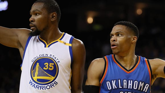 34aee61e896 Kevin Durant  35 of the Golden State Warriors and Russell