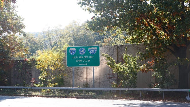 New York State Thruway entrance ramp sign in South Nyack on Tuesday, October 18, 2016.