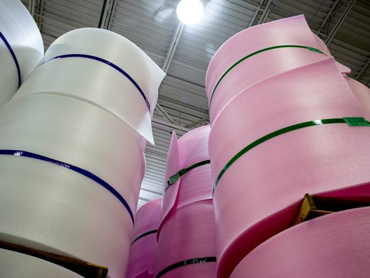 Rolls of foam are stacked high at Rex Performance Products