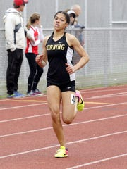 Jayla Skeete of Corning runs to a win in the 400 meters April 28 at the Waite/Molnar Invitational at Ernie Davis Academy.