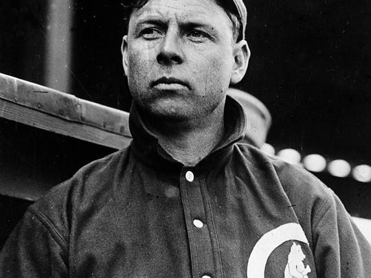 """Mordecai """"Three Finger"""" Brown, Chicago Cubs star pitcher, is shown in Chicago, Ill., in 1912."""