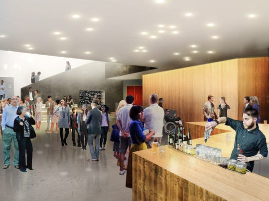 A rendering of the lobby view along Elm Street, according