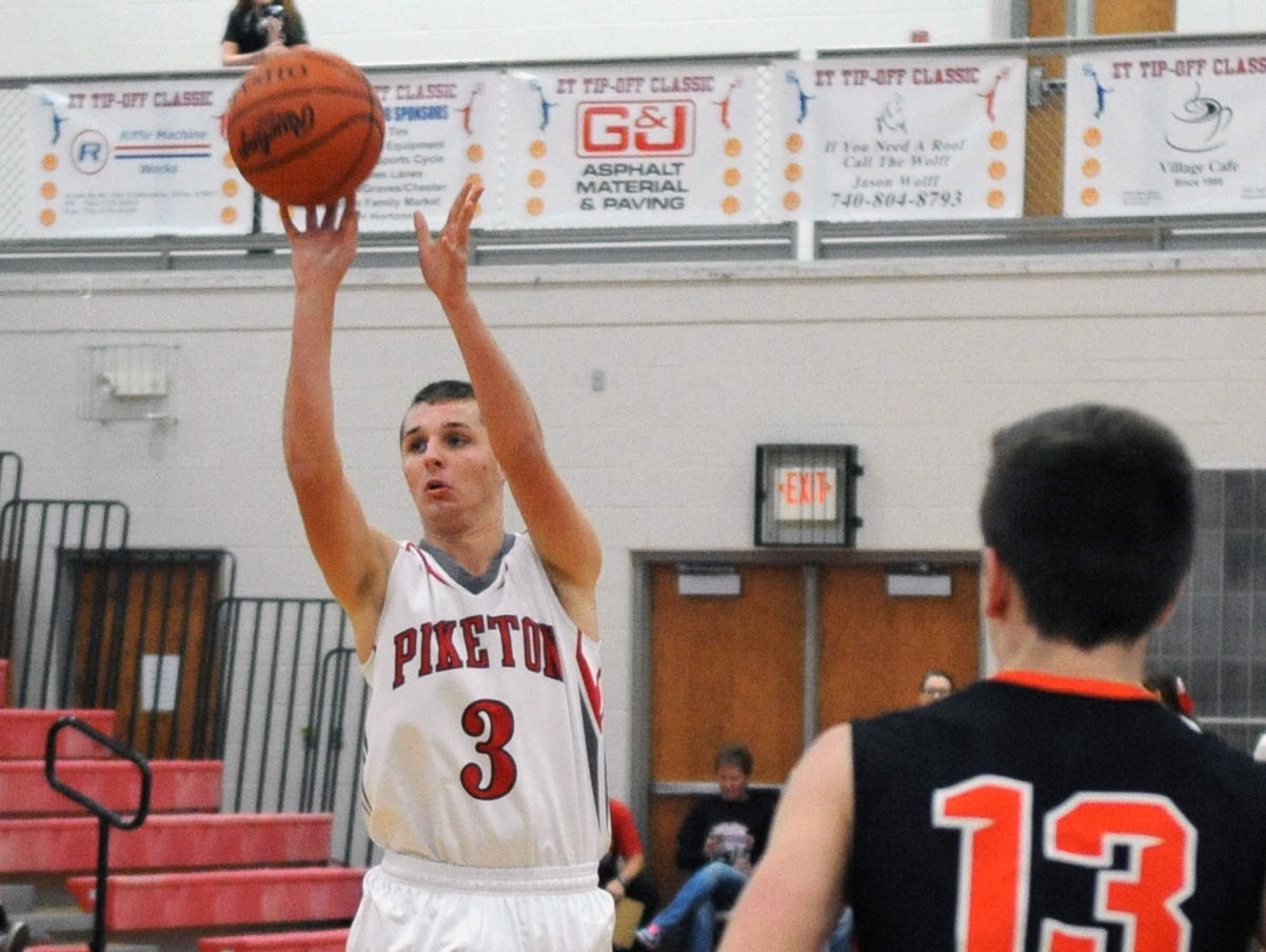 Piketon's Brice Odell takes a shot against Amanda-Clearcreek Friday at Zane Trace High School.