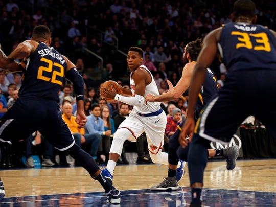 New York Knicks guard Frank Ntilikina (11) drives to the basket against the Utah Jazz during the first quarter at Madison Square Garden on Wednesday, Nov. 15, 2017.
