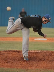 Huntingdon's Zach Dodson throws a pitch as the Mustangs take on the Golden Tide from Trenton.