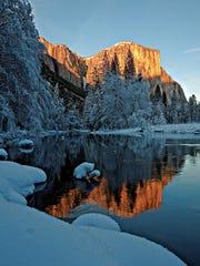 El Capitan during winter in Yosemite National Park.