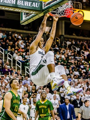 MSU's Deyonta Davis could give the Spartans a rim protector defensively it didn't have last season.