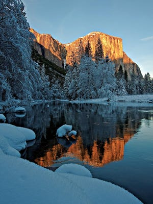 El Capitan looks stunning during winter in Yosemite National Park.