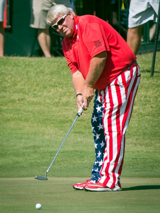 John Daly putts on hole 18 during the Insperity Invitational golf tournament on Sunday, May 7, 2017, in The Woodlands, Texas. (Michael Minasi/Houston Chronicle via AP)