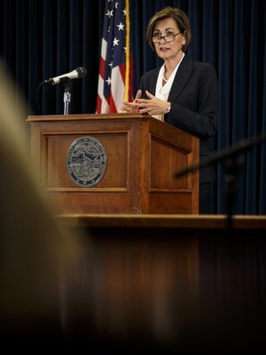 Iowa Governor Kim Reynolds speaks Wednesday during her daily Coronavirus press briefing at the State Capitol in Des Moines.