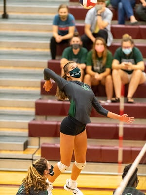 Cedar Park's Avery Cole goes up for a spike during the Timberwolves' match against Round Rock earlier in the season. Cole hammered 26 kills last week to earn American-Statesman player of the week honors.