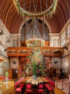 A 35-foot-tall Fraser fir tree was raised inside the Biltmore House Wednesday and will reside in the Banquet Hall as the estate's grand holiday centerpiece.
