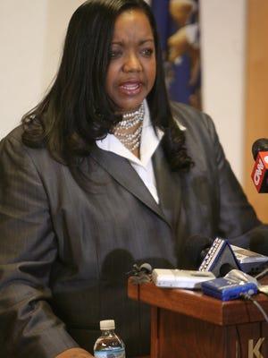 Wayne County Prosecutor Kym Worthy addresses the media regarding Mayor Kwame Kilpatrick in 2008.