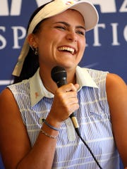 Defending champion Lexi Thompson made her first trip back on Tuesday to Mission Hills Country Club in Rancho Mirage since winning her first major there last year. She was promoting the ANA Inspiration.
