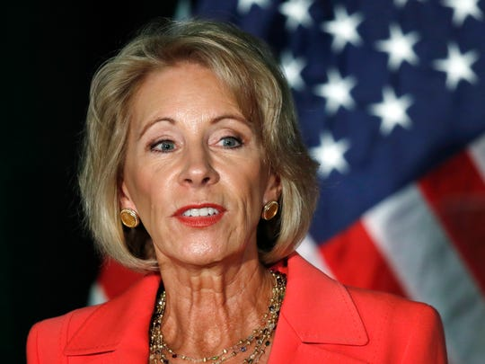 Education Secretary Betsy DeVos speaks about campus sexual assault and enforcement of Title IX, the federal law that bars discrimination in education on the basis of gender, Thursday, Sept. 7, 2017, at George Mason University Arlington, Va., campus.