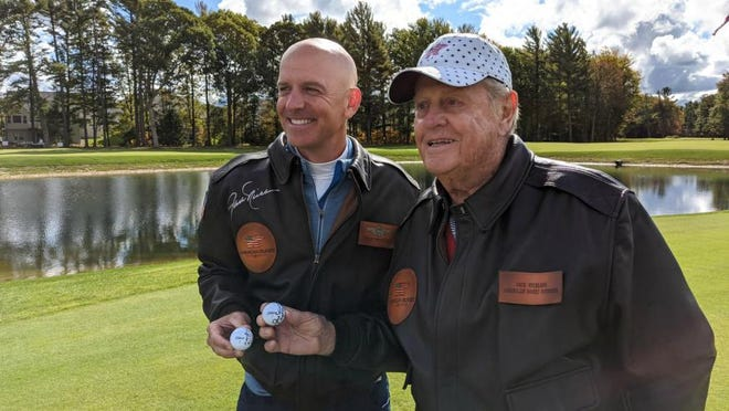Jack Nicklaus, right, and Dan Rooney pose at a preview of American Dunes Golf Club on Sept. 29.