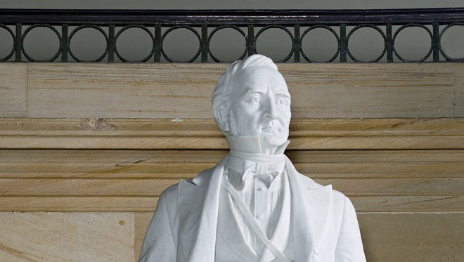 A marble statue of Thomas Hart Benton (the former senator, not the painter) on display at the U.S. Capitol