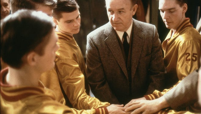 """Actor Gene Hackman as Coach Norman Dale, prepares to send players out onto the court in the 1986 movie, """"Hoosiers,"""" which was filmed in Indiana."""
