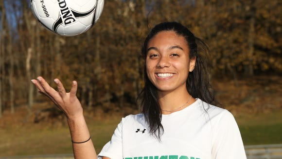 Irvington High School's Zoe Maxwell photographed at Irvington High School in Irvington on Wednesday, November 29, 2017.  Maxwell is named the Westchester/Putnam Girls Soccer Player of the Year.