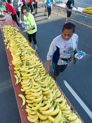 Competitors grab some food to re-energize after their races in 2016.
