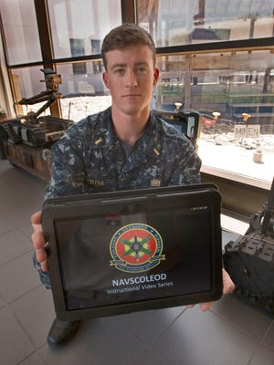 Ensign Brendan Murtha has nearly completed his training at the Navy's Explosive Ordnance Disposal School at Eglin Air Force Base. During his time at the EOD school, Murtha his been part of a new program integrating tablet technology into the commands training.