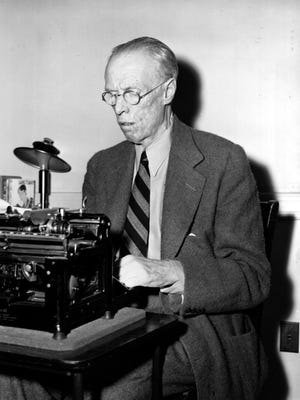 Sinclair Lewis, author, Pulitzer and Nobel Prize winner, is at his typewriter in 1943.