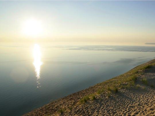 Sunset at Sleeping Bear Dunes in northern Michigan.